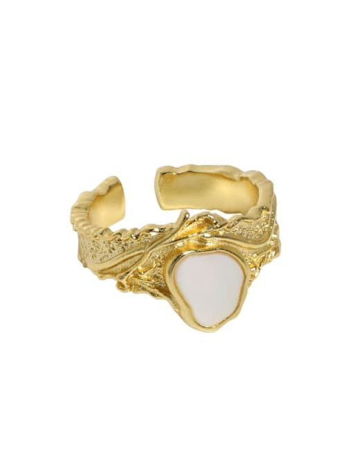 18K gold [15 adjustable] 925 Sterling Silver Shell Irregular Vintage Band Ring
